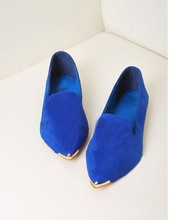 2013 Korean version of the new candy-colored metal pointed leather flat shoes(China (Mainland))