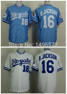 Mens Kansas City Royals #16 Bo Jackson Jersey Light Blue / White Throwback Baseball Jerseys Embroidered Logo(China (Mainland))