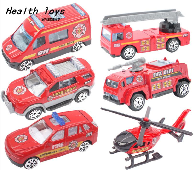 Discount 6 pcs/lot 1:64 alloy fire truck Wheel Toys model cars children's gifts Water tanker Ladder truck free shipping(China (Mainland))