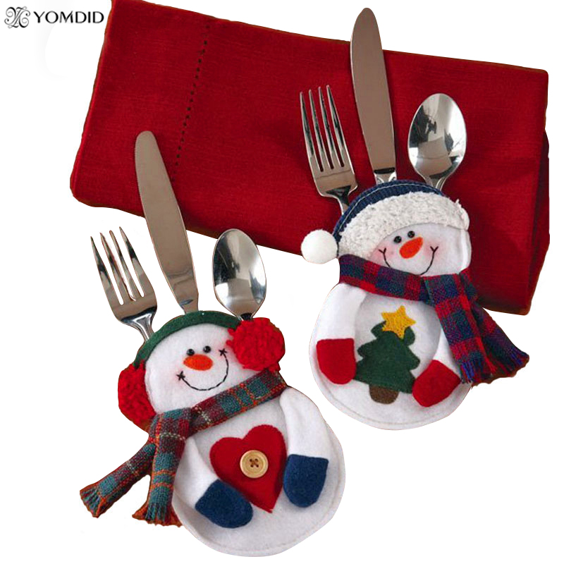 8pcs christmas decorations snowman silverware holders for New year home decorations