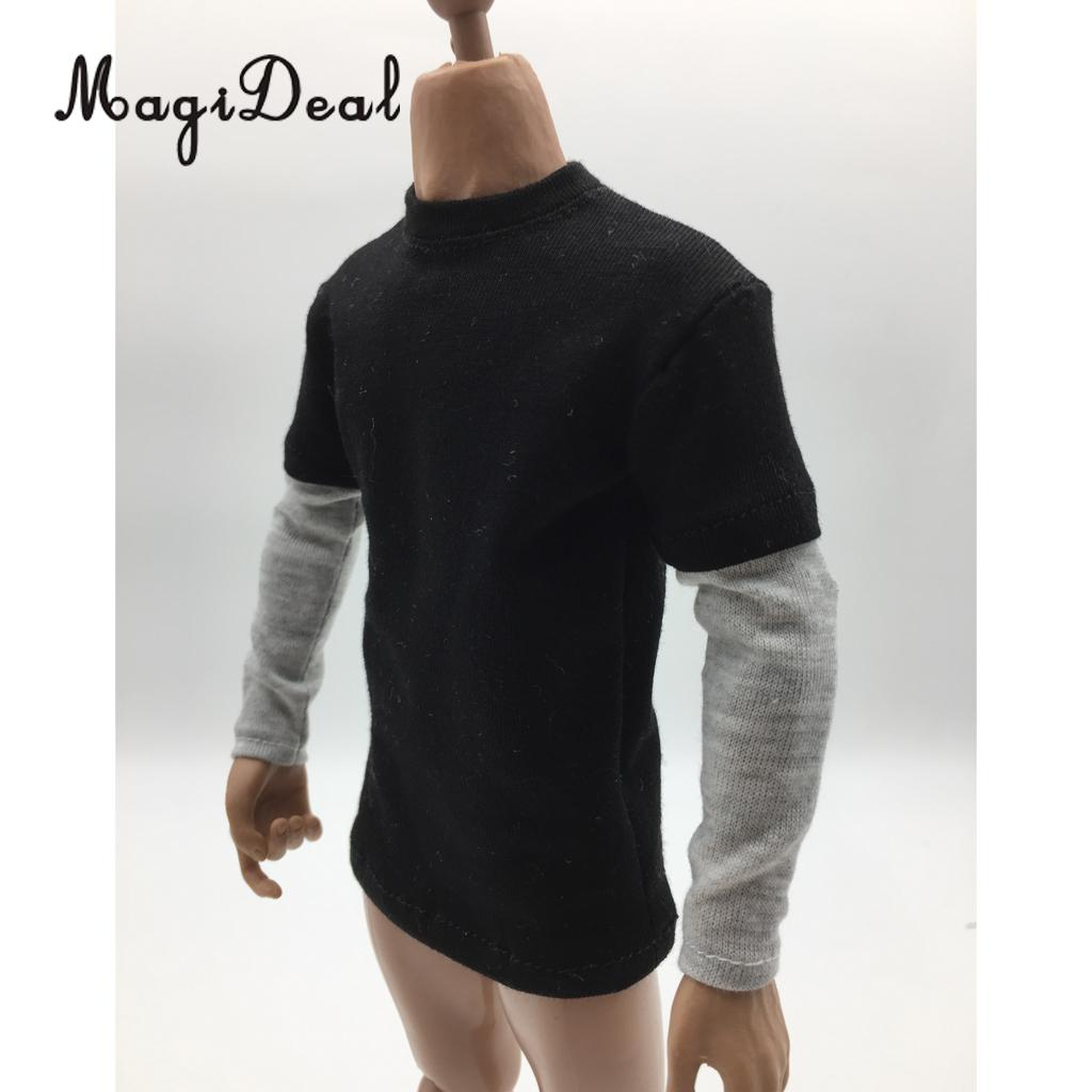 MagiDeal 1/6 Scale Mens Red Double Sleeve Long T-shirt Clothes for 12 Inch Male Action Figure Body Hot Toys 3Colors