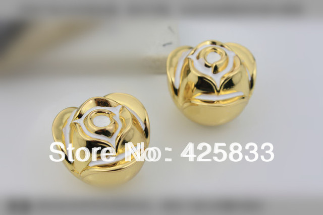24k Gold Rose Flower Cartoon Pulls Brass Plating Cabinet Pull Furniture Knob Drawer Handle Dresser Handles