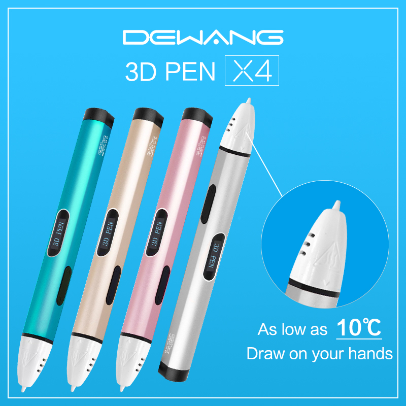 Dewang Newest X4 3D Printing Pen Free PCL Filament Low Temperature Protection for Kid Gift Toy USB 3D Pens