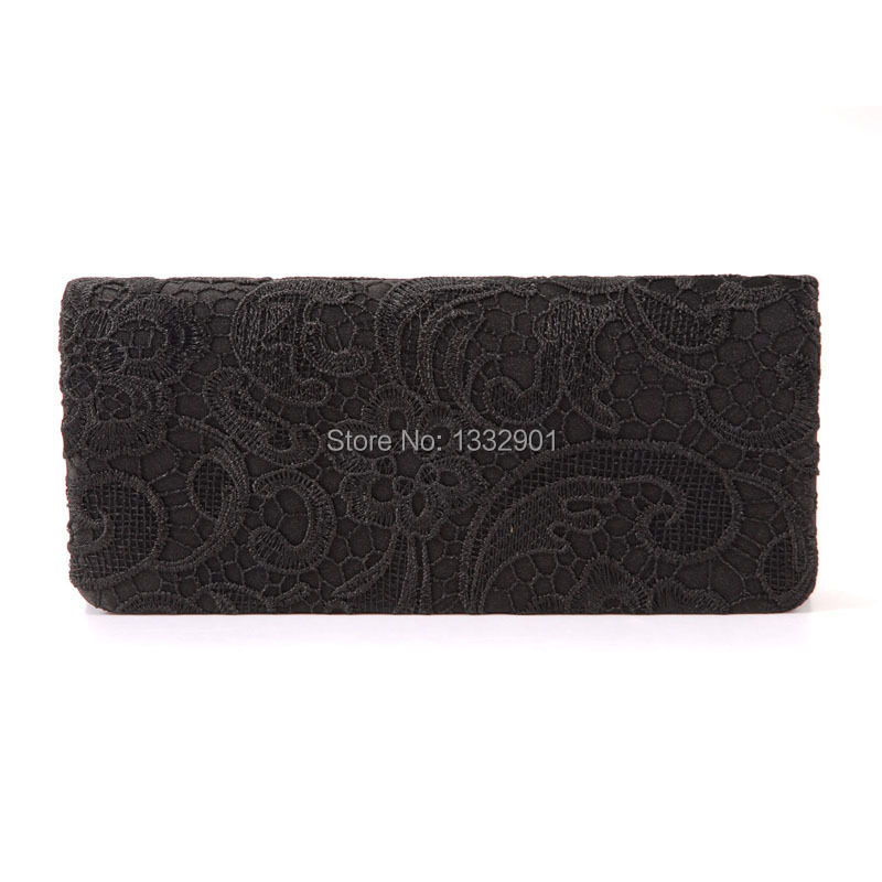 Black White Navy Blue Floral Flower Satin Lace Wedding Evening Party Clutch Bag(China (Mainland))