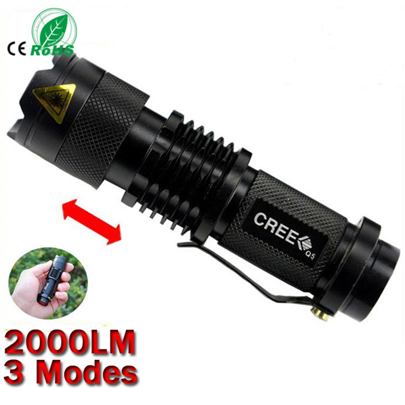 New Arrival CREE Q5 led flashlight 7W high power mini zoomable 3 modes waterproof torch 14500 /AA for camping(China (Mainland))