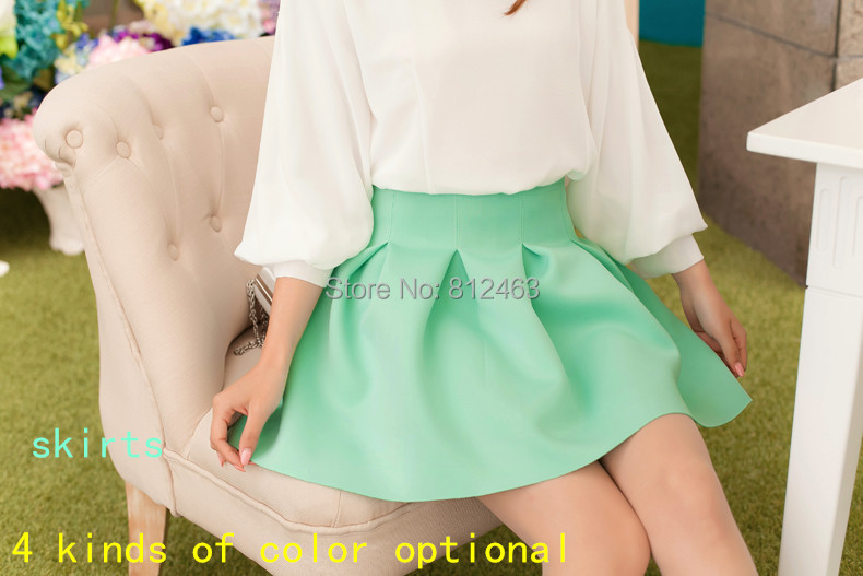 Hot! Ms candy color skirt. Pure pleated skirts. Tall waist skirts summer. 2015 free! . - Netmall store
