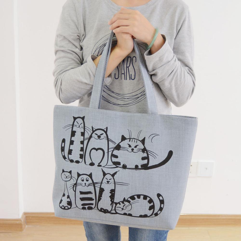 Bolsa Nike Feminina 2016 : Excelsior cartoon cats printed beach zipper bag bolsa