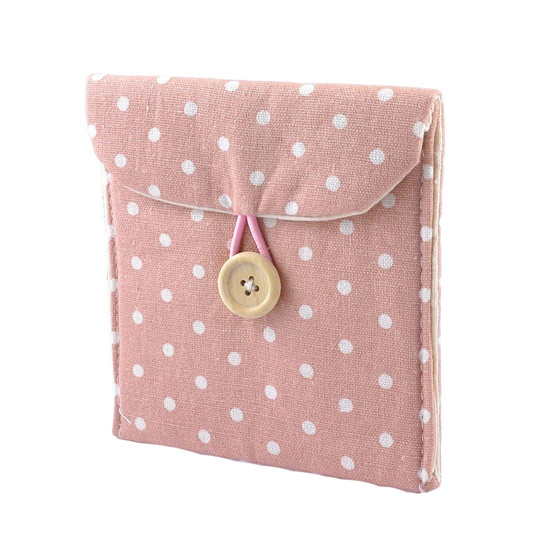 5pcs/lot Fashion! Lady Soft Cotton Blends Polka Dots Sanitary Napkins Holder Bag Pink TOOGOO(R)(China (Mainland))
