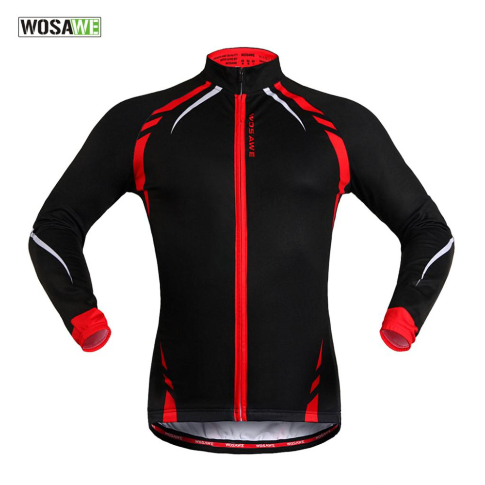 WOSAWE Fleece Thermal Men Cycling Jersey Bike Bicycle Long Sleeves Mountaion MTB Jersey Reflective Jacket Clothing Shirts(China (Mainland))