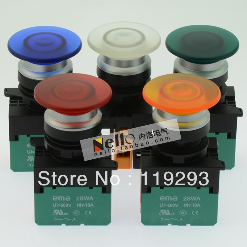 [ BELLA]Imports EMA illuminated pushbutton 22mm self-resetting E2P4 *. M0 LEDAC110/220V 1NO or 1NC--10PCS/LOT<br><br>Aliexpress