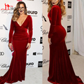 Khloe Kardashian Oscar Formal Evening Celebrity Gowns Sexy Wine Red Mermaid Long Sleeves Evening Dresses Sweep