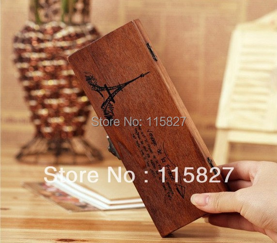 Free Shipping!Vintage style wooden box Wooden pencil case Stationery Box Wooden desk organization wooden storage box(China (Mainland))