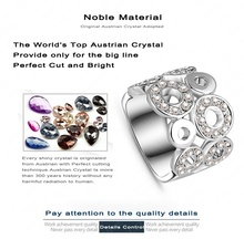 2015 New Design Engagement Rings Platinum Plated Genuine Austrian Crystal SWA Element Round Ring Fashion Jewelry