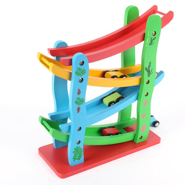 Cute Toddler Kids Wooden Car Set Toys Zigzag Drop & Slip Rolling Car Tracks Toys Freeshipping(China (Mainland))