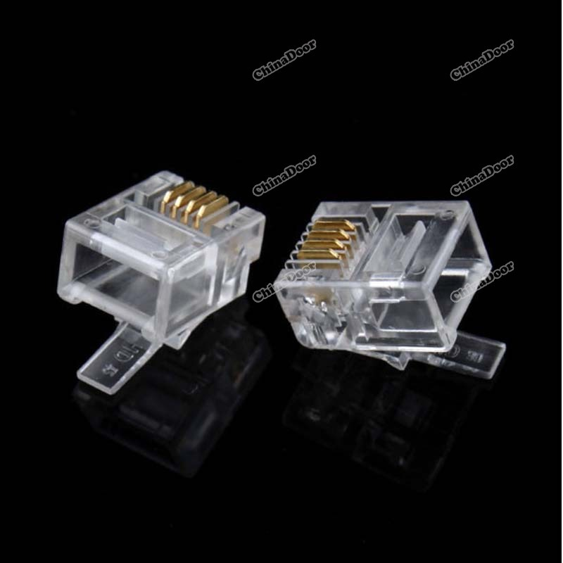 chinadoor 2014 New Sale 50PCS Durable 4 Pin RJ11 RJ-11 6P4C Modular Plug Telephone Phone Connector Hot Charming!(China (Mainland))