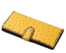2015 Yellow Fashion High Quality Women Genuine Leather Wallet Women's Clutch Zipper Purse Money Clips Handmade Wallets(China (Mainland))