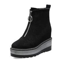 BONJOMARISA marque nouvelle hauteur incréasion Zip plate-forme femmes chaussures décontracté fête Ol doux automne hiver bottines(China)
