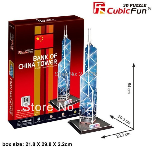 3D puzzle BANK OF CHINA TOWER building model educational toy free shipping