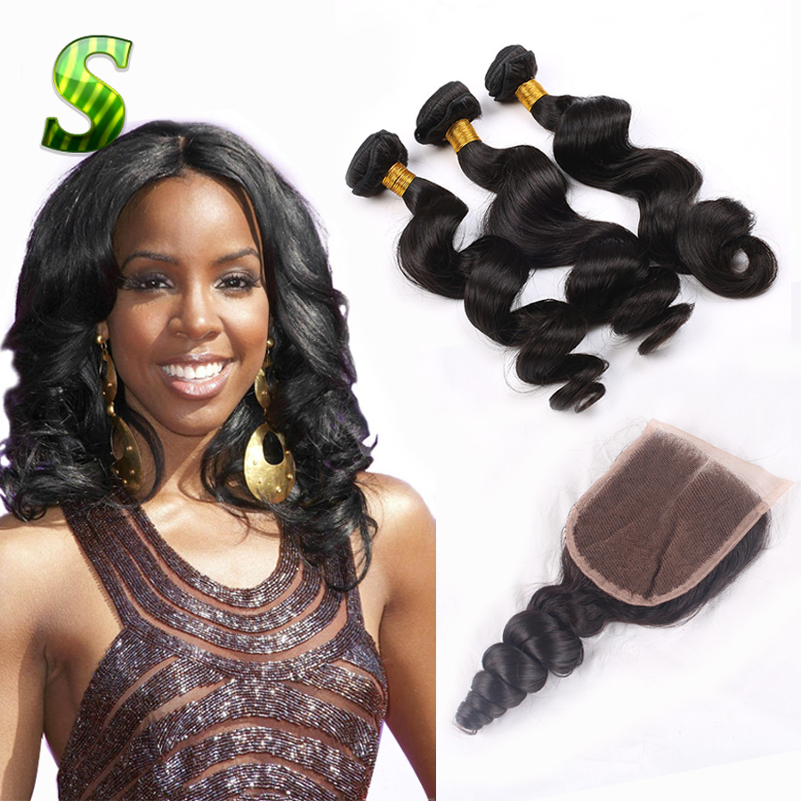 7A Peruvian Loose Wave With Closure 100% Human Hair Weave With Closure Peruvian Virgin Hair 3 Bundles With Closure Free Shipping