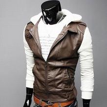 2014 New Wholesale PU Leather Jacket Hooded Men's Jacket Coat Motorcylce Outerwear Jackets Fashion Long Sleeve Outdoor Clothing(China (Mainland))