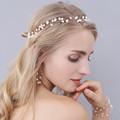 Fashion Gold Freshwater Pearls Bridal Hair Jewelry Vine Handmade Wedding Headband Accessories Women Headpiece