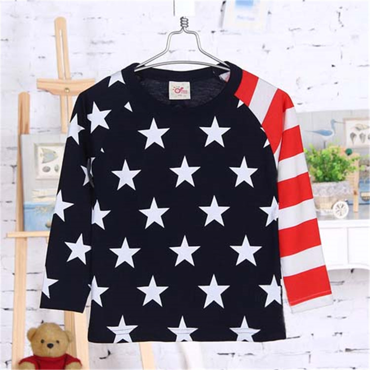 2015 spring and autumn new style five pointed star baby boys fashion T-shirts little boys long sleeve basic shirt A2309(China (Mainland))