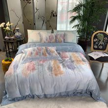 100% bamboo fiber satin bedding set Chinese Classical style duvet cover set blue Bohomian silk feeling bed linen king queen size(China)