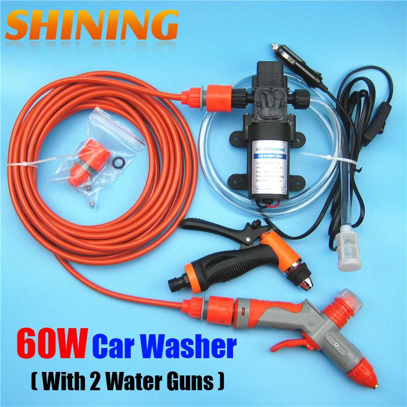 12V 60W Car Washer Washing Pump Machine With Dual Guns (Normal Water Gun + Foam Water Gun), Self-priming Car Cleaning Device(China (Mainland))