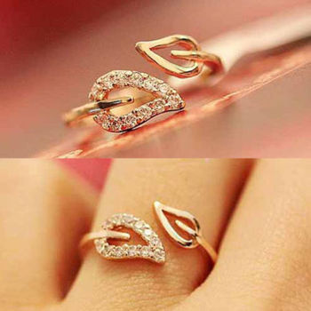Euramerica Style Couple Leaves Crystal Drill Lover Rings For Women Party Wedding Ring Jewelry Free Shipping