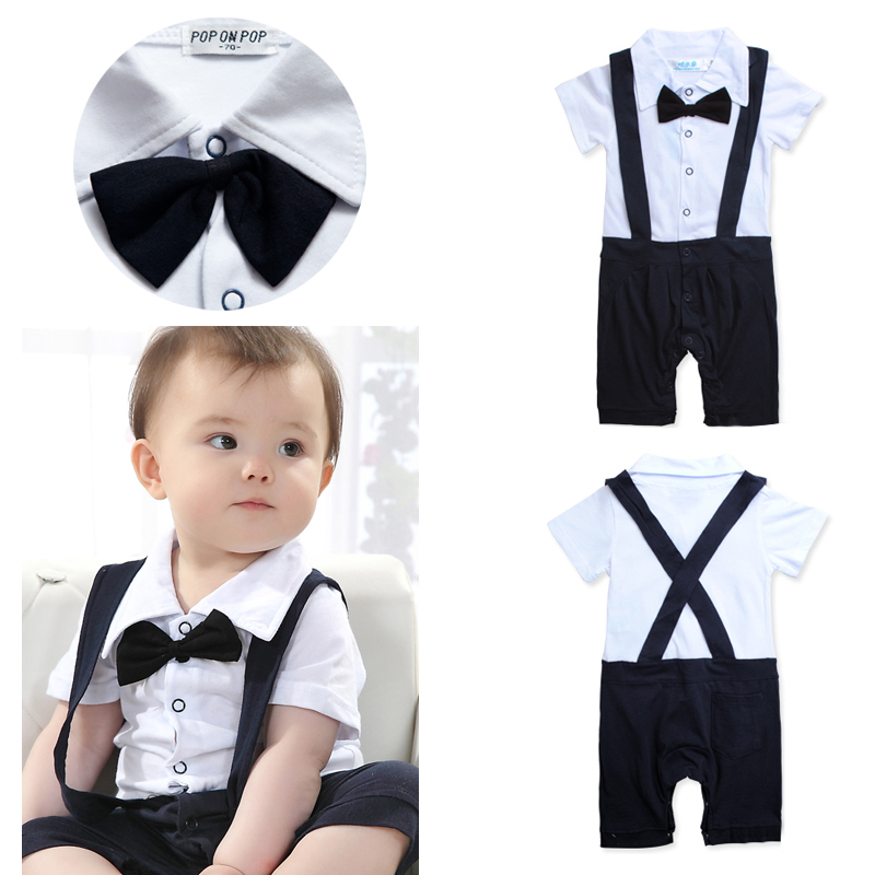 Navy and White Baby Boy Overalls Suspenders Tuxedo Romper With Bowtie Infants Clothes Summer Style(China (Mainland))