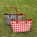Wholesale Blanks Canvas Plaid Tote Bag Red Buffola Check Handbag Large Capacity with PU Faux Leather