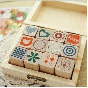Freeshipping!!Wholesale,New Creative Wooden box Diary stamp set/DIY stamp/Decorative DIY funny work/12pcs/set