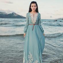 Cheap Vintage Ruffles Casual Bohemian Beach Maxi Dress Chiffon Long Dresses BOHO Embroidery Casual Dresses Celebrity