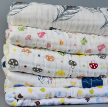 6layer Carter Super soft breathable muslin cotton Newborn Baby swaddling gauze washed baby blanket thick  bath towel fox pattern(China (Mainland))