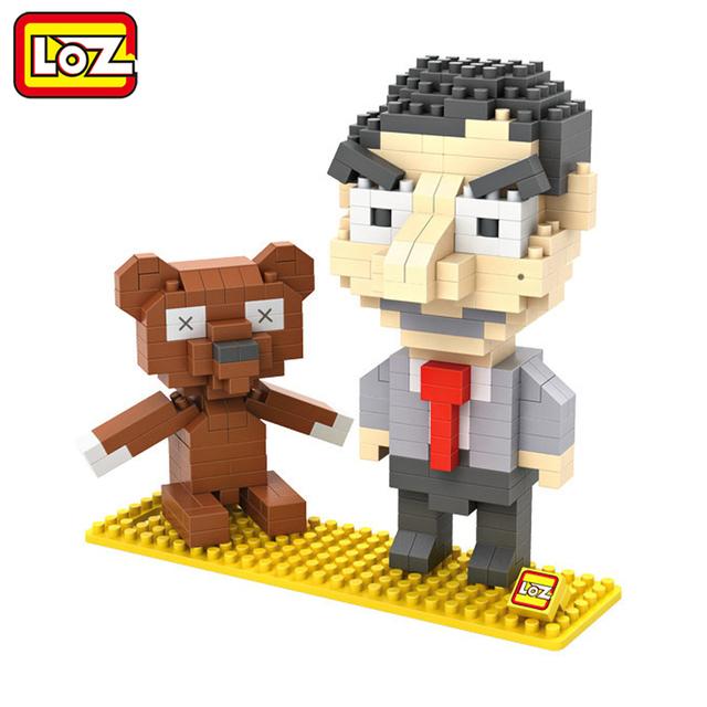 LOZ Мистер Бин И Тедди 3D Модель Фигурку Игрушки Алмазные Блоки Оригинальной Коробке 14 + Подарок 9507