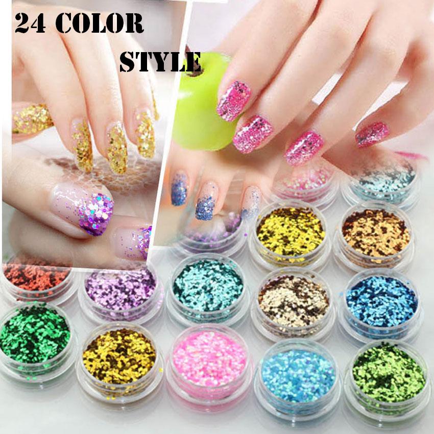 24 Color Free choice Optional Metal polvere big sequins Glitter Nail Art Tool Kit Acrylic Powder Dust gem Polish For Girl Women(China (Mainland))