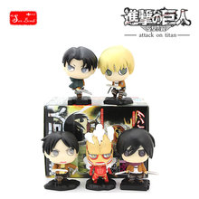 2017 New Anime Attack on Titan 5 figure in 1 Boxed Eren, Mikasa, Levi of Shingeki no Kyojin PVC Figure Model Doll Toy Gift Figma(China (Mainland))