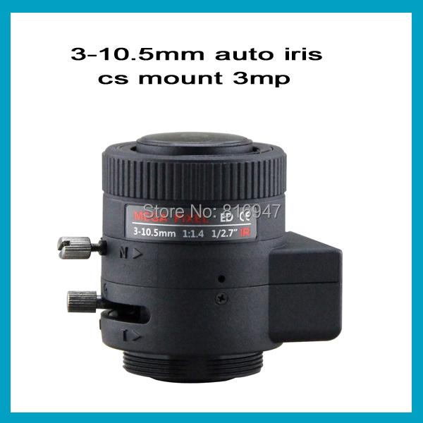 3-10.5mm 1/2.7 inch F1.4 auto iris cctv ir lens, cs mount 3 megapixel security camera lens , - Wellcam Lens store