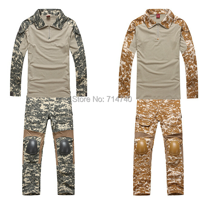 Tactical US Army Military Suit Shirt Pants Assault Combat Long Sleeve T-Shirt Shirts Trousers Knee Pads Hunting - Tactical's store
