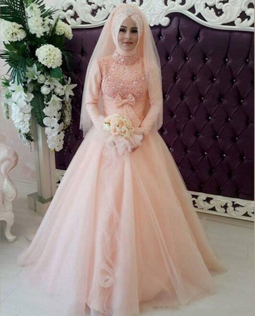 wedding dress muslimah muslim wedding dress Sequins Beading Lace A Line Long Sleeve Muslim Arabic Wedding Dress