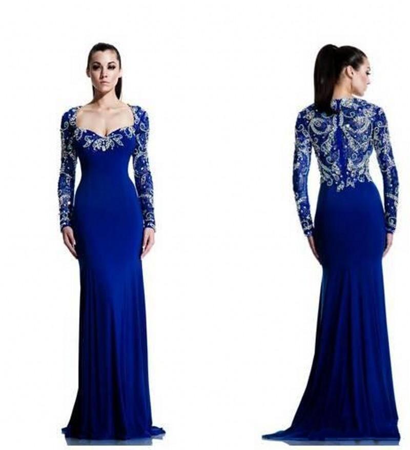 Royal Blue Long Sleeve Prom Dress Photo Album - Reikian