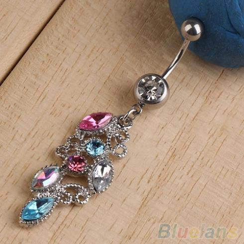 Colorful rhinestone crystal navel belly dangle body for Belly button jewelry store