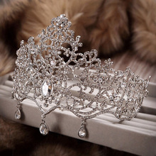 2015 fashion large crystal Bridal tiara wedding hair jewelry women Pageant crowns clearance wedding hair accessories