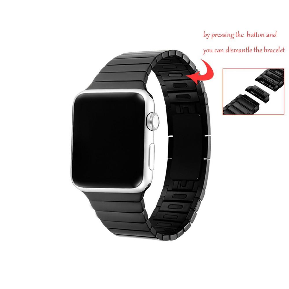Для Apple Watch Премиум Нержавеющей Стали 316L iWatch Съемный Ремешок Ремешок невидимый Застежка С Адаптером Разъем 38-42 мм 2 цвет