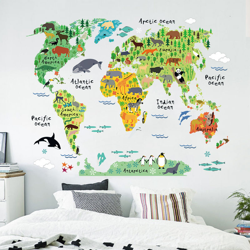Animal World Map Wall Decal Removable Art Wall Sticker ...