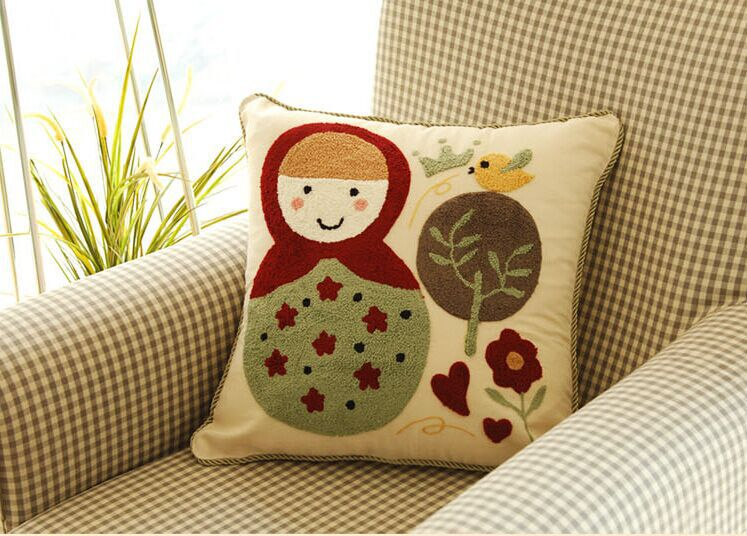 Kids series Embroidered Russian doll throw pillow case cushion cover childhood remembers kids lover CTYS001 - Best Natures store