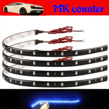 New 10Pcs 30cm blue green red white waterproof Light 5050 12 SMD High Power Flexible LED Car Strips(China (Mainland))