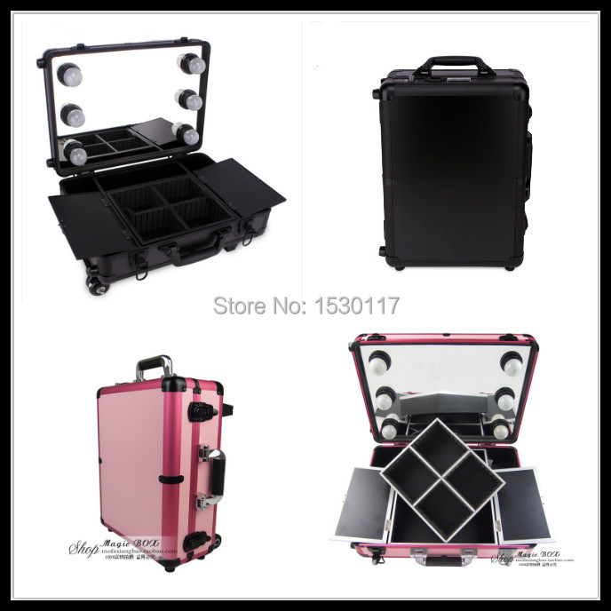 full mirror makeup case with lights professional makeup box with removable trolley case pink and. Black Bedroom Furniture Sets. Home Design Ideas