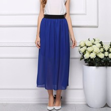2015 new fashion women summer clothing bohemian Elastic Waist Chiffon Long Maxi Skirt