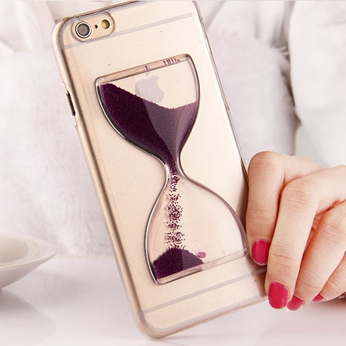 Cute Crystal Clear Dynamic Liquid Glitter Sand Quicksand Case For iPhone 6 6S 4.7 inch Transparent Hourglass Cover For iPhone 6S(China (Mainland))